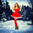 Christmas card desighn sexy woman — Stock Photo