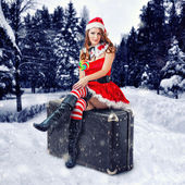 Christmas card design - beautiful woman — Stock Photo