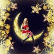 Christmas woman santa claus sitting on moon — Stockfoto