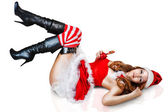 Sexy christmas woman in santa claus clothes — Stock Photo