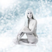 Sexy beautiful woman - snow queen — Stock Photo
