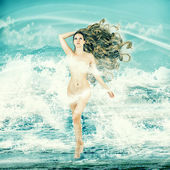 Sexy fairy woman - Aphrodite in sea waves — Zdjęcie stockowe