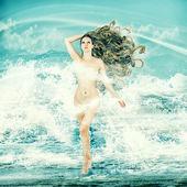 Sexy fairy woman - Aphrodite in sea waves — Zdjęcie stockowe
