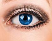 Beautiful woman blue eye with long lashes — Stock Photo