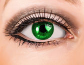 Beautiful woman green eye with long lashes — Stock Photo