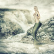 Stock Photo: Fantasy world. Beauty mermaid sitting on rock