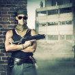 Military man with gun - automatic — Stock Photo #37907107