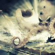 War with a large sea monster - octopus alien — Stock Photo #39910437