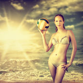 Young beautiful slim volleyball woman — Stock Photo