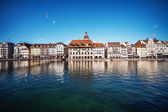 Beautiful view. Lucerne embankment, Switzerland — 图库照片