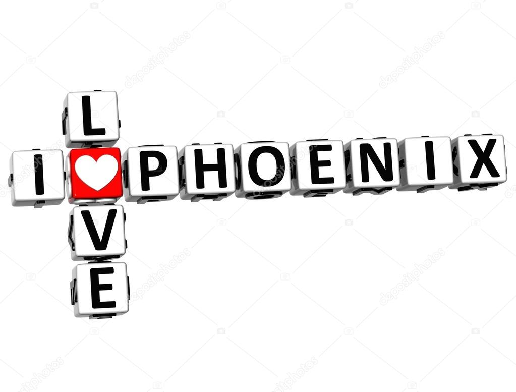 3D I Love Phoenix Crossword on white background — Stock Photo #12431719