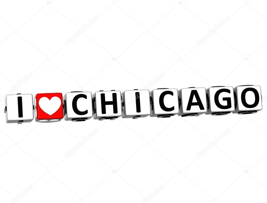 3D I Love Chicago Button Click Here Block Text over white background — Stock Photo #12431723