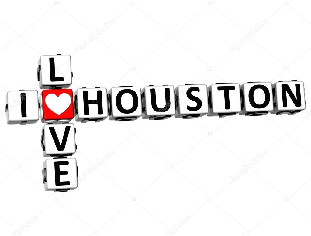 3D I Love Houston Crossword on white background — Stock Photo #12431724