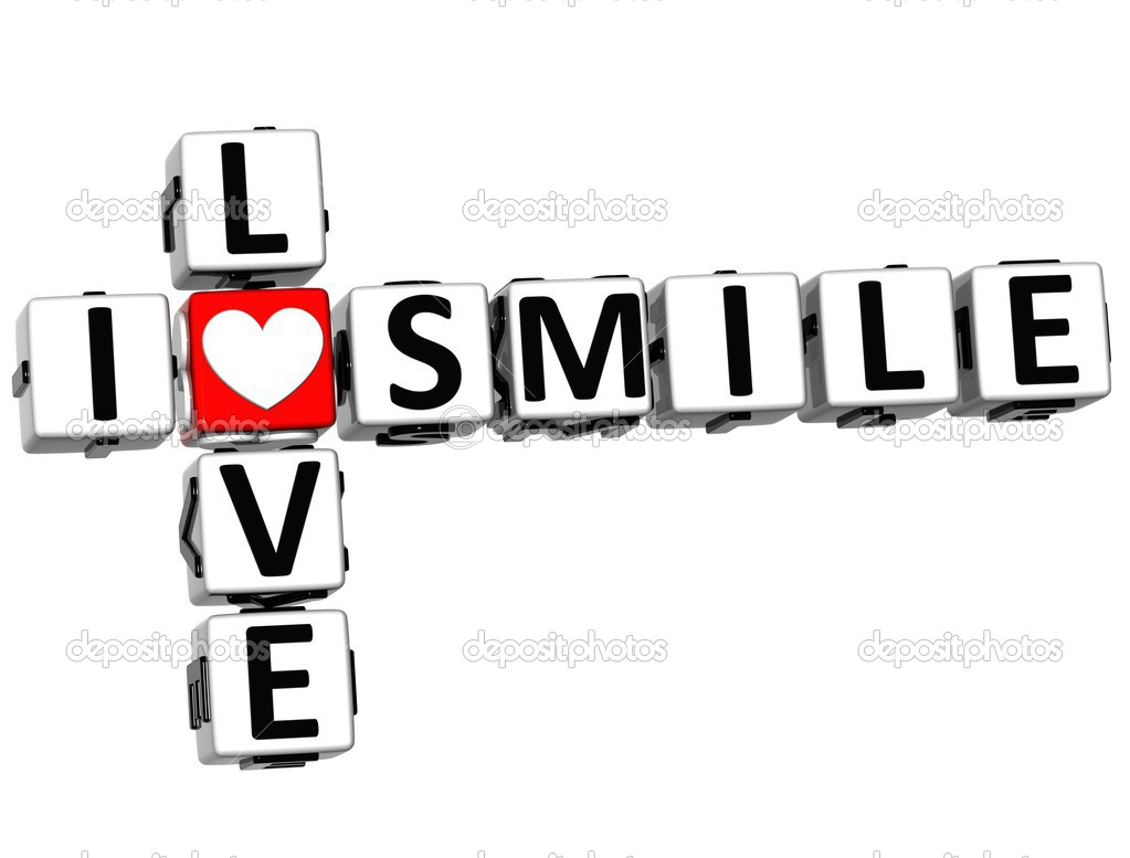 3D I Love Smile Crossword on white background — Stock Photo #12431764