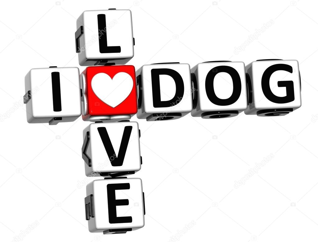 3D I Love Dog Crossword on white background — Stock Photo #12431769