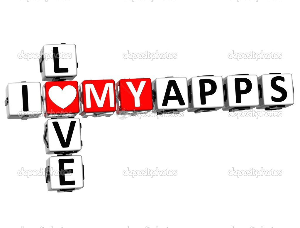 3D I Love My Apps Crossword on white background — Stock Photo #12431784