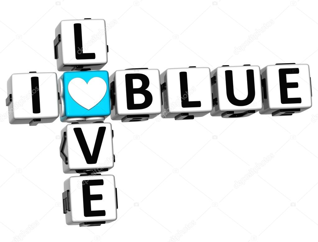 3D I Love Blue Crossword on white background — Stock Photo #12431785
