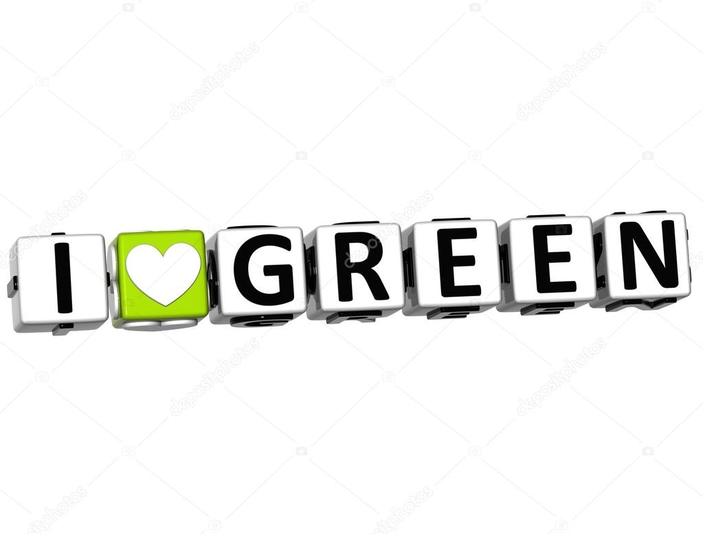 3D I Love Green Button Click Here Block Text over white background — Stock Photo #12431791
