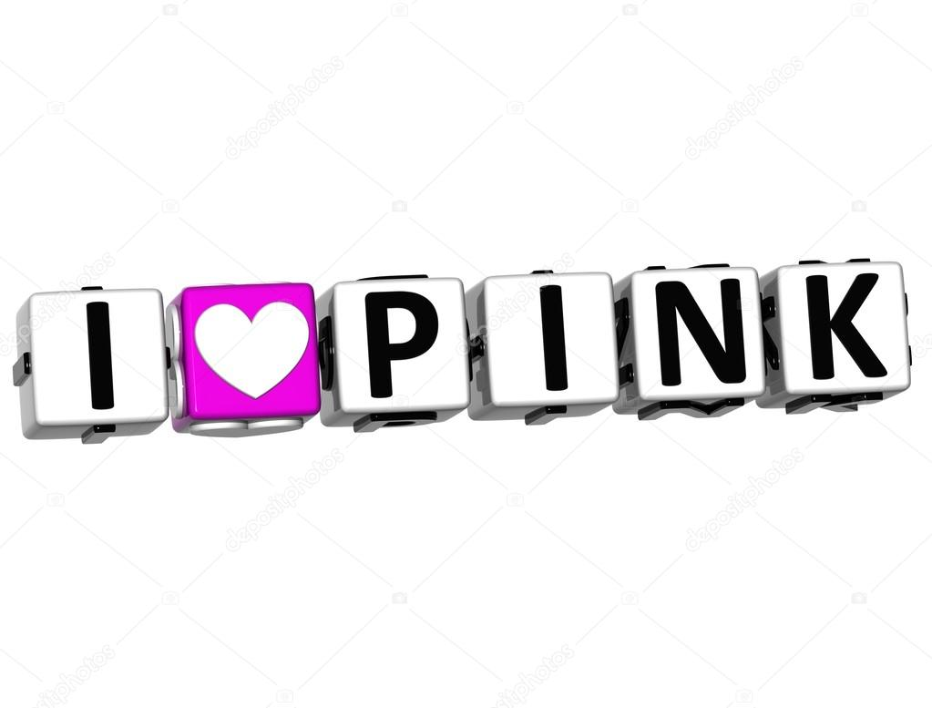 3D I Love Pink Button Click Here Block Text over white background — Stock Photo #12431794