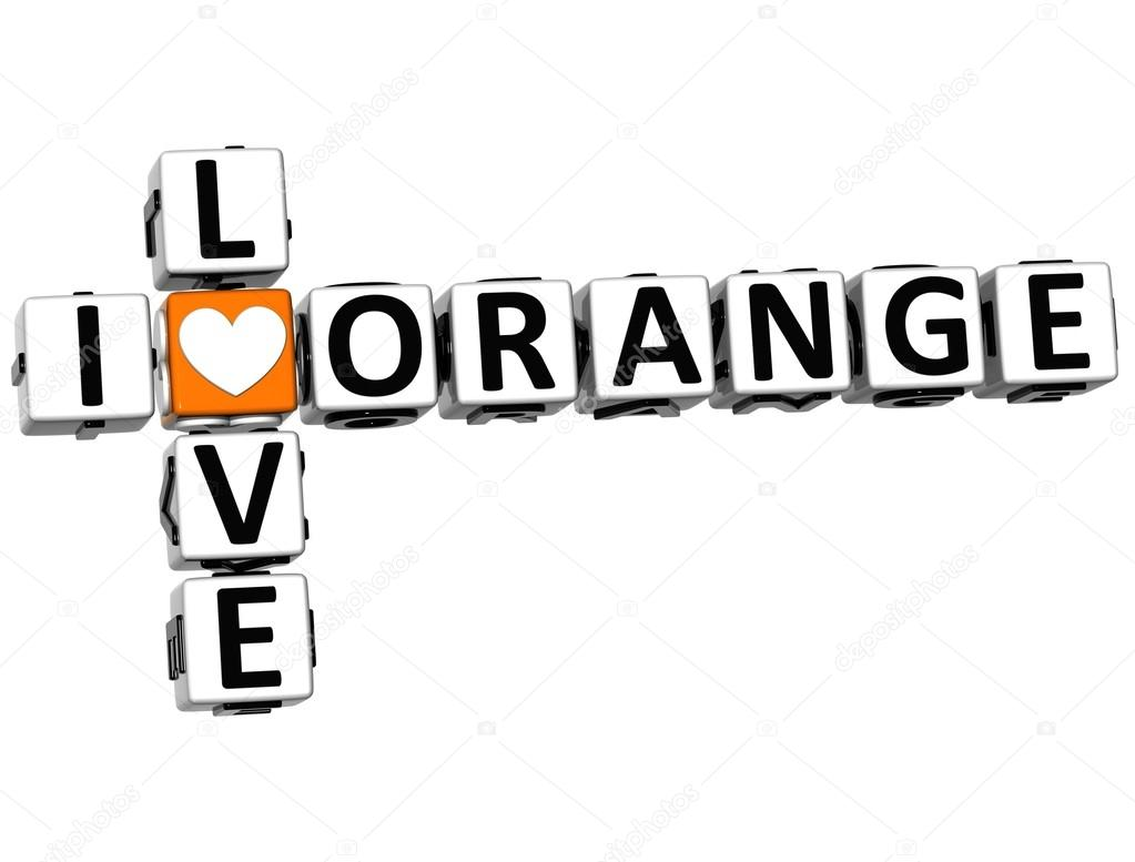 3D I Love Orange Crossword on white background — Stock Photo #12431795