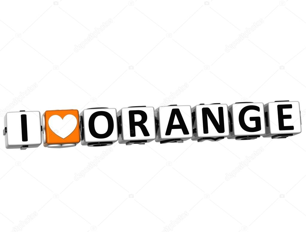 3D I Love Orange Button Click Here Block Text over white background — Stock Photo #12431798