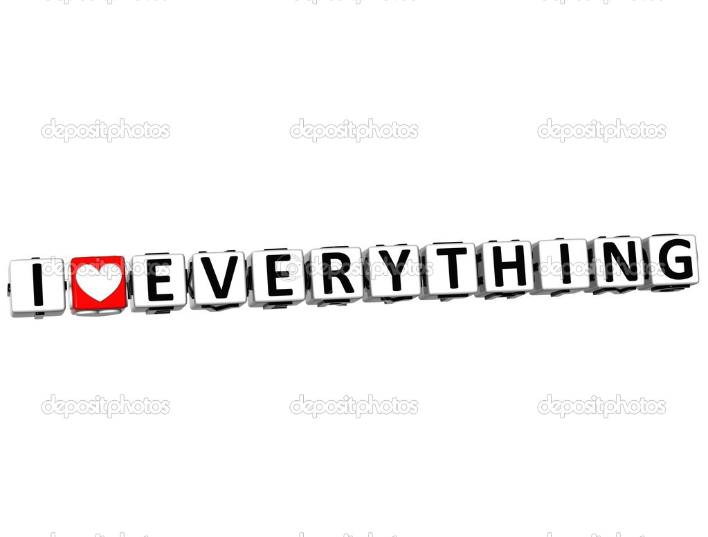 3D I Love Everything Button Click Here Block Text over white background — Stock Photo #12431799