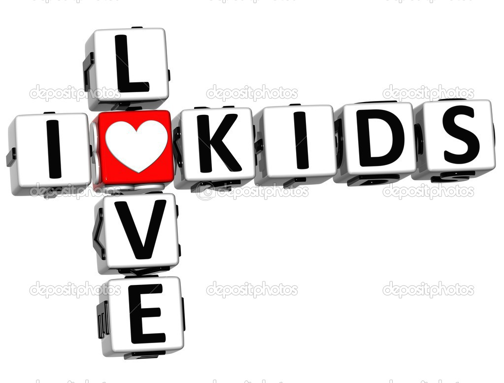 3D I Love Kids Crossword on white background — Stock Photo #12431801