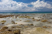 Eb en blauwe hemel en witte wolken op het koraal strand. andamanen. — Stockfoto