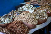 Dried fish, seafood product at market from India — Stock Photo