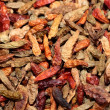 Closeup of red dried chilli background — Stock Photo