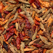 Stock Photo: Closeup of red dried chilli background