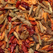 Closeup of red dried chilli background — Stock Photo #16136379