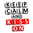 3D Keep Calm And Kiss On Button Click Here Block Text - Foto Stock