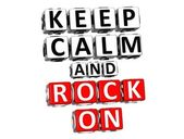 3D Keep Calm And Rock On Button Click Here Block Text — Stock Photo