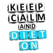 3D Keep Calm And Diet On Button Click Here Block Text — Stock Photo
