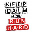 3D Keep Calm And Run Hard Button Click Here Block Text — Stock Photo
