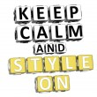 3D Keep Calm And Style On Button Click Here Block Text — Stock Photo