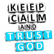 3D Keep Calm And Trust God Button Click Here Block Text — Stock Photo