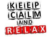 3D Keep Calm And Relax Button Click Here Block Text — Stock Photo