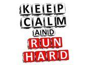 3D Keep Calm And Run Hard Button Click Here Block Text — Stock Photo