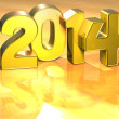 3D Year 2014 on gold background — Stok fotoğraf