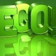 3D Word Eco on green background - Stock Photo