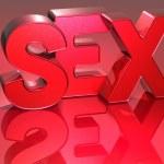 3D sex palabra sobre fondo rojo — Foto de Stock