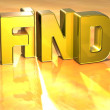 3D Word Find on gold background — Stock Photo