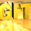 3D Word Gift on gold background — Stock Photo