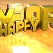 3D Word Happy Year on gold background — Stockfoto