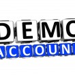 3D Demo Account Button Click Here Block Text — Stock Photo