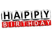 3D Happy Birthday Button Click Here Block Text — Stock Photo