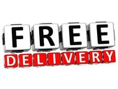 3D Free Delivery Button Click Here Block Text — Stock Photo