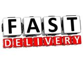 3D Fast Delivery Button Click Here Block Text — Stock Photo
